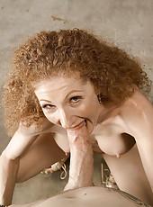 Fiery redhead gets mouth full of cum