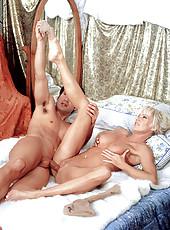 Blonde milf sucking cock