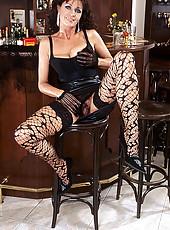 Brunette MILF in hot stockings