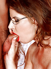 Busty Selena in hardcore ball-licking action