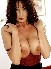 Sexy brunette MILF in red lingerie