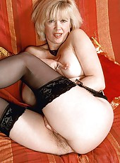 Blonde MILF Gemma in stockings