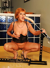 Mature mom gets boned deep by her favourite dildos