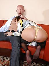 Seductive milf Alexandra Silk sucks cock before getting fucked hard