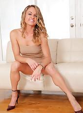 Long blonde haired Amanda Blow masturbates with a magic wand at Anilos