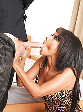 Sex addict Anjanette Astoria sucks on a cock before getting screwed and jizzed on