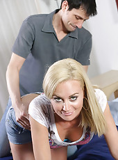 Blonde Anilos Camryn Cross gets her sweet pink pussy rammed on the bed really hard
