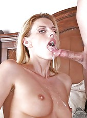 Talented  Anilos cougar strokes a stiff cock before inserting it in her eager milf fuck box