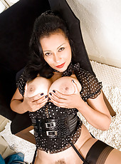 Horny mature business woman strips off her undies revealing her hot milf pussy