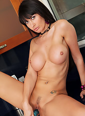Anilos Eva Karera sits on the kitchen counter as she fucks her needy milf pussy with a dildo