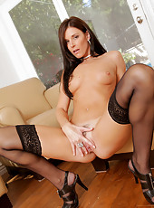 Curvy mature woman strips her hot lingerie and pleasures her pussy