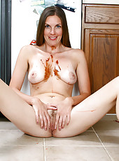 Horny housewife shows off her breasts and sweet mature pussy in the kitchen
