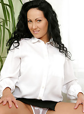 Sensational long haired brunette laura strips down to nothing in the office