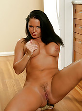 Intelligent and classy milf maya divine exposes her busty tits and spreads her pink for you