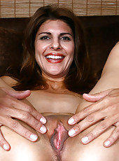 Busty Anilos cougar strips off her lingerie and explores her hot milf pussy with her fingers