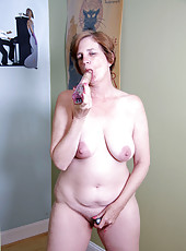 Anilos old lady gets horny and she fucks herself in both holes with the rabbit and a vibrator