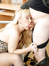 Horny blonde cougar bounces her wet milf pussy and ass on a rock hard cock