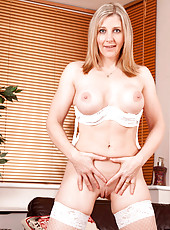 Anilos secretary Tonya pulls up her skirt to pleasure her hot pussy