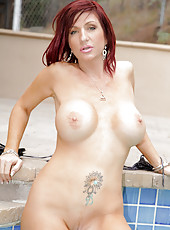Lovely Anilos Brittany Blaze proudly shows off her busty mature body outdoors