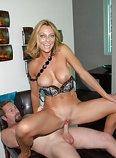 Beautiful babe big tits milf breanda strips in the penthouse then gets her pussy and ass penetrated hard on the bed in these milf fuck pics
