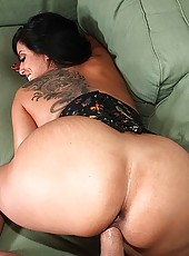 Fucking hot big tits babe nailed hard in these screaming hot power sex