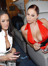 These 2 sexy big tittied babes are fucking the shit out of eachother here in these hot jet sex pics