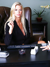 Check out this stacked big tits gold bikini babe get fucked and cumfaced in her office by her designer in these hot office fuck pics