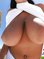 Smoking hot big tits natural titty babe gets creamed on her big ass titties after masterbating at the pier in these hot pics