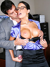 Smoking hot fucking big tits office babe masterbates at her chair then gets power fucked in these hot office fucking pics