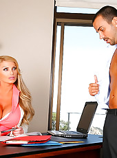Watch this hot big tits babe interview a horny boy and ask him to get naked and fuck her on the office table in these hot pics