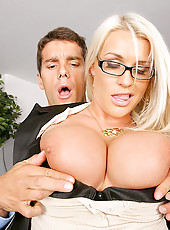 Amazing big tits blonde sadie decides to fire the employee who fucks her worst in these hot office desk banging update