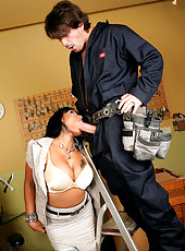 Hot ass big tits office babe gets her hot ass fucked by the janitor in these hot office banging pics