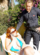 Big tits business babe gets nailed by her electrician after sunbathing by the pool in these hot fucking adventures