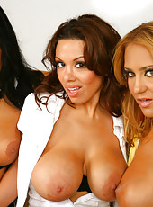 These 3 sexy milfs are getting down and dirty in the conference room of their job with the mail man