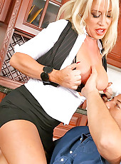 32dd jenna get her  yearly evaluation pouinded hard on the office table