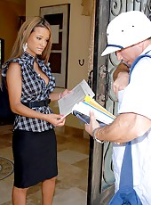 Hot big breast jodi bean invited the mail man in for a hot horny adveture fucking pics