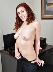 Office babe Amanda reveals her super hairy pussy and all natural tits