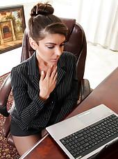 Office secretary masturbates as shes watch Anilos porn on her laptop