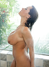 Busty cougar milf ready to get wet and wild in the shower