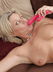 Horny housewife Payton Hall stuffs a toy in her pussy doggystyle