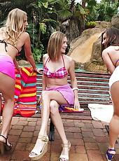 3 hot ass mini skirt milfs pounded hard in their wet bikinis hot ass licking pussy fucking pics