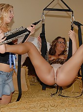 3 hot cat outfit milfs finger fuck each other on a swing set in these house 3some fuck pics