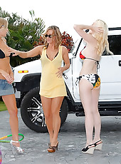 3 super hot bikini babes get wet at thec car wash then dildo fuck their wet boxes in these lesbo pics