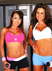 Workout babe bryce and her milf friend get horny at the gym and suck on some hot cock and get their pussies pounded hard against the workout bench