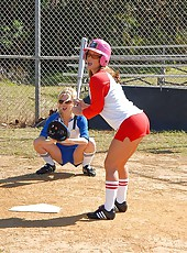 Amazing britney and her red white and blue softball babes get down for some ball and pussy fucking in the pen