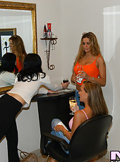 Four lezzie milfs go to the salon for some pampering and end up pamering eachother