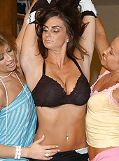 These 3 hot milfs are out on the town shopping for lingerie