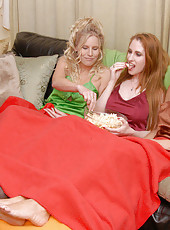These 3 milfs are watchin porno in bed here in these hot milf action pics
