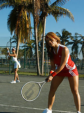 Hot milf action after the babes go to play some tennis