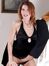 Petite and elegant Sky Rodgers from AllOver30 slips off her hot dress